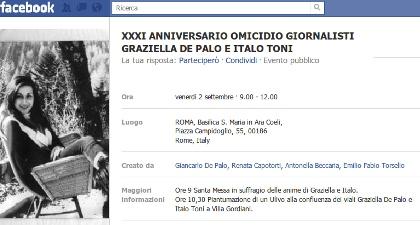 XXXI anniversario omicidio giornalisti Graziella De Palo e Italo Toni
