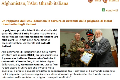 Afghanistan, l'Abu Ghraib italiana