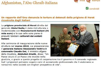 Afghanistan, l'Abu Ghraib italiana