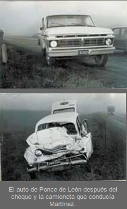 L'auto in cui perse la vita monsignor Horacio Ponce de Leon